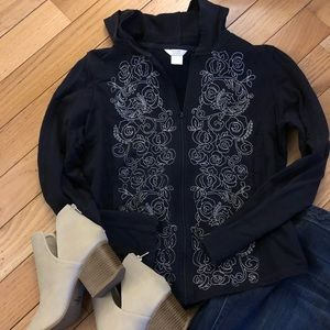 Med. Christopher & Banks Navy zip up sweatshirt
